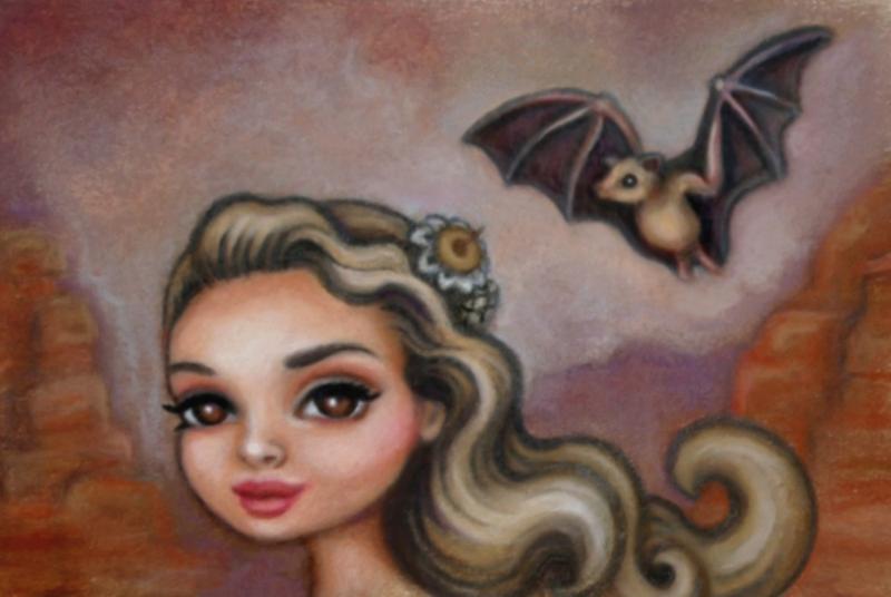 lesser long nose bat by: julie b.  www.facebook.com/art.julieb by artists4wildlfe