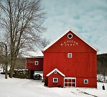 Red barn in Snow by Rachelle Vance