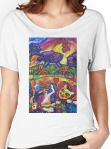 Cocky Rooster And Cat Romance Women's Relaxed Fit T-Shirt