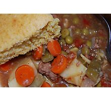Corn Bread And Crock Pot Hamburger Stew Photographic Print