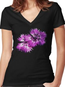 Dianthus (T-Shirt), dark, watercolor effect Women's Fitted V-Neck T-Shirt