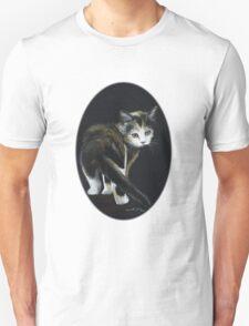 Calico Kitten Pastel on Black T-Shirt