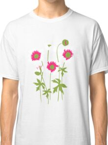 Graphic ragged poppies white pink Classic T-Shirt