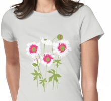 Graphic ragged poppies white pink Womens Fitted T-Shirt