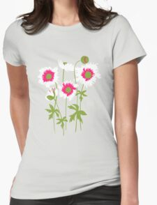 Graphic ragged poppies white pink T-Shirt
