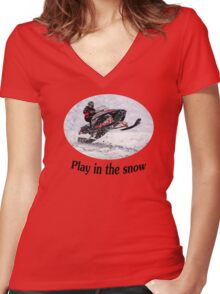 Play In the Snow (black) Women's Fitted V-Neck T-Shirt