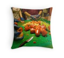 Cooks Chopping Red Capsicums Throw Pillow