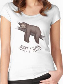 adopt a sloth Women's Fitted Scoop T-Shirt