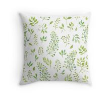 Watercolor leaves pattern Throw Pillow