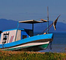 Blue boat , blue ocean, blue mountains by AmyCK