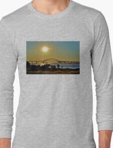 Summer Sunset Over Robert Moses Beach Bridge Long Sleeve T-Shirt