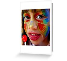 Cute little girl with face paint and lolly pop Greeting Card