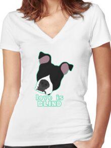 Love is Blind black Women's Fitted V-Neck T-Shirt