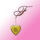 F Golden Heart Locket by Chere Lei