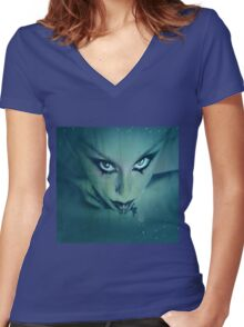 WAITING FOR MOTHERSHIP Women's Fitted V-Neck T-Shirt