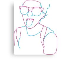 Line Art Girl - Pink & Blue lines Canvas Print