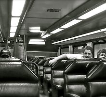 On The Run - Students Riding the T  by Jack McCabe