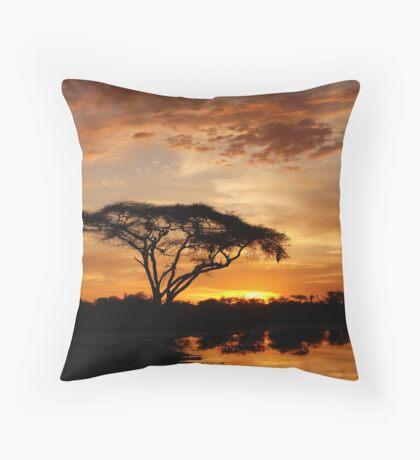 Okavango Delta sunset Throw Pillow