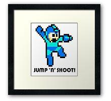 Megaman Jump full cover Framed Print