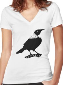 Tui | New Zealand Native Bird Women's Fitted V-Neck T-Shirt