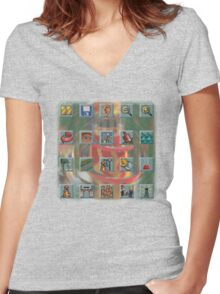 Roller Coaster Tycoon Icons Women's Fitted V-Neck T-Shirt