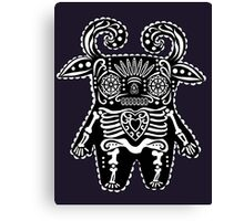 Black and White Dia de Los Muertos Monster  Canvas Print
