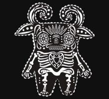 Black and White Dia de Los Muertos Monster  by alphabetty