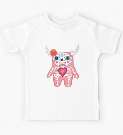 Pink Dia de los Muertos Monster  Kids Tee