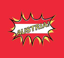 "Comic book ""KA-POW"" style Austrian flag  by piedaydesigns"