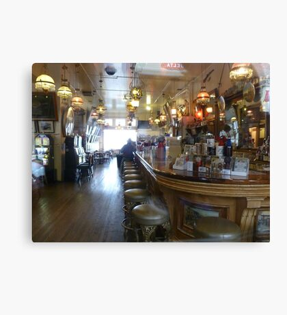 Haunted? What sits on the 2nd bar stool in front? Canvas Print