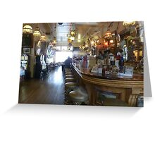 Haunted? What sits on the 2nd bar stool in front? Greeting Card