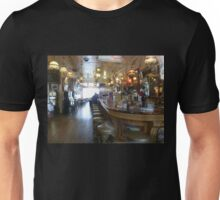 Haunted? What sits on the 2nd bar stool in front? Unisex T-Shirt