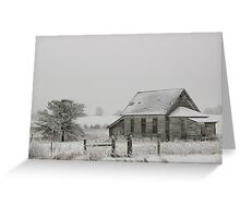 Frosted Old Schoolhouse Greeting Card
