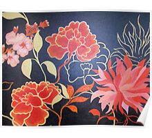 Wallpaper flowers in red Poster
