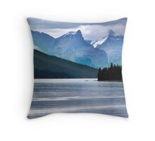 Lake Maligne-Canoes Throw Pillow