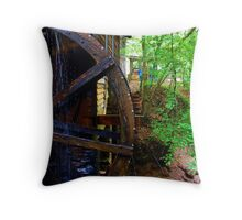 The Grist Mill Wheel at Hurricane Shoals Throw Pillow