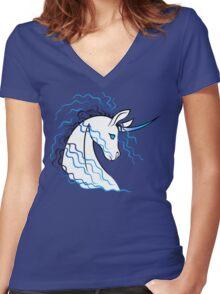 Ki-Rin (Japanese Unicorn) - Blue Women's Fitted V-Neck T-Shirt