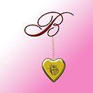 B Golden Heart Locket by Chere Lei