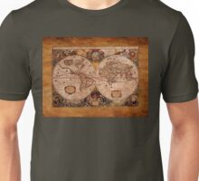 Hondius's 1630 AD World Map on Parchment effect BG Unisex T-Shirt