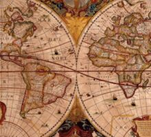 Hondius's 1630 AD World Map on Parchment effect BG Sticker