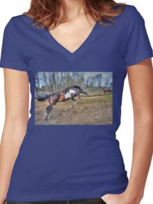 Spirited Pinto Stallion Equine Action Photo Women's Fitted V-Neck T-Shirt