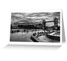 View of Tower Bridge and Tower Hill in monochrome, London Greeting Card