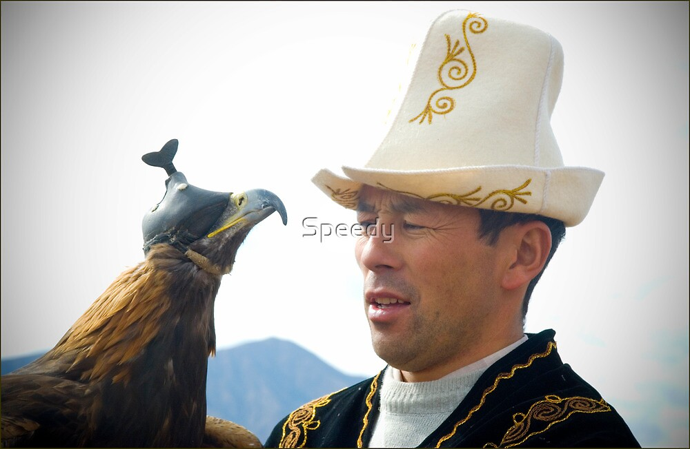 Kyrgyz eagle hunter with his bird by Speedy
