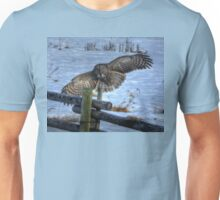 Landing Great Gray Owl and Snow Wildlife Raptor II Unisex T-Shirt
