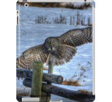 Landing Great Gray Owl and Snow Wildlife Raptor II iPad Case/Skin