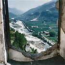 France, River Var view from up in the citadel, Entrevaux by BronReid