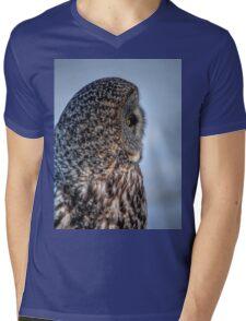 Contemplation - Great Grey Owl Mens V-Neck T-Shirt