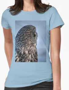 Contemplation - Great Grey Owl Womens Fitted T-Shirt