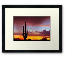 Arizona Sunset with Lightning Strike Framed Print