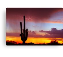 Arizona Sunset with Lightning Strike Canvas Print